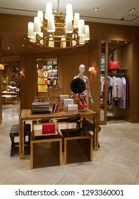 SINGAPORE - JAN 4, 2019: Interior view of the Tory Burch boutique in Orchard Paragon Mall. Tory Burch is an American fashion label owned, operated and founded by American designer Tory Burch.