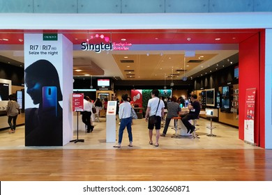 SINGAPORE - JAN 4, 2019: Singtel store in ION Orchard Mall, Singapore. Singtel is one of the three major telcos in the Republic of Singapore, the other two being Starhub and M1.