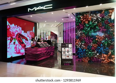 SINGAPORE - JAN 4, 2019: View of MAC Cosmetics Shop in ION Orchard Mall. MAC Cosmetics was founded in Toronto, Ontario, Canada in 1984 and became part of the Estée Lauder Companies in 1998.