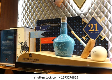 Singapore - JAN 6, 2019: 21 years old Royal Salute Blended Scotch Whiskey on store shelf Changi Airport, Singapore. It is a brand of Scotch whisky produced by Chivas Brothers, founded in 1801.