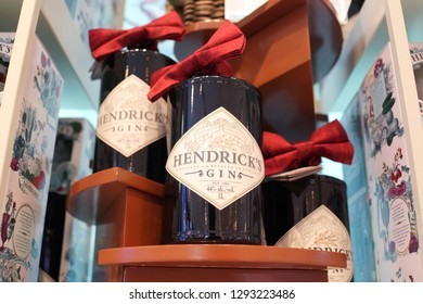 Singapore - JAN 6, 2019: Hendrick's gin bottles display on store shelf. Hendrick's Gin is a brand of gin produced by William Grant & Sons in Girvan, Scotland, and launched in 1999.
