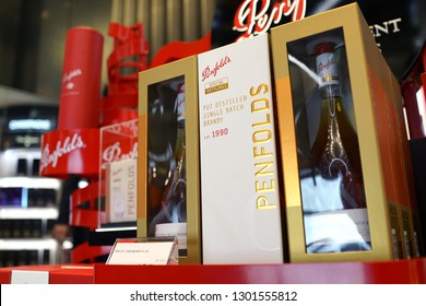 Singapore - JAN 6, 2019: Penfolds brand single batch brandy display on store shelf. Penfolds is an Australian wine producer that was founded in Adelaide in 1844, one of Australia's oldest wineries.