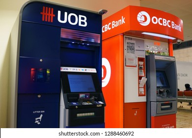 Singapore - JAN 6, 2019: Various bank ATMs at Singapore Changi International airport Terminal 2.