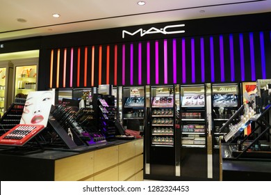 Singapore - JAN 6, 2019: View of MAC Cosmetics Store in Changi Airport Terminal 2. MAC Cosmetics was founded in Toronto, Ontario, Canada in 1984 and became part of the Estée Lauder Companies in 1998.