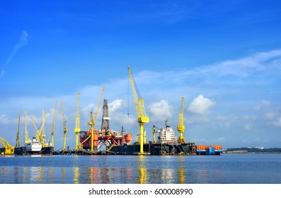 SINGAPORE - JAN 7, 2017: Dayview of Sembawang Shipyard. It is located in Sembawang & close to Sembawang MRT in northen Singapore. Sembawang Shipyard is a wholly owned shipyard of Sembcorp Marine Ltd.