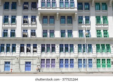SINGAPORE - JANUARY 04: MICA building on Jan 04, 2015 in Singapore. It was known as the Old Hill Street Police Station. This building has a total of 927 windows and are painted in the rainbow color.