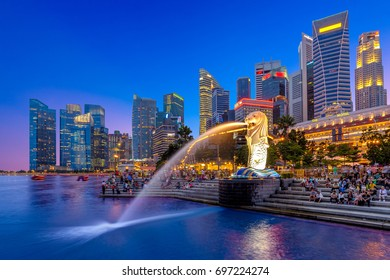 Singapore, Singapore - January 1, 2016: Night view of singapore. Marina Bay is a bay located in the Central Area of Singapore.