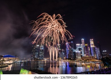 Singapore - January 1 2019: New Year Firework at Marina bay area, Singapore. Singapore Celebrates its new year with beautiful fireworks.