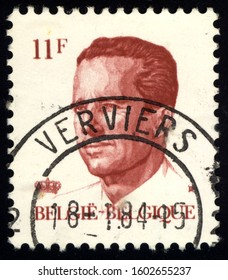 SINGAPORE – JANUARY 1, 2020: A stamp printed in Belgium shows Belgium's king Baudouin, circa 1982
