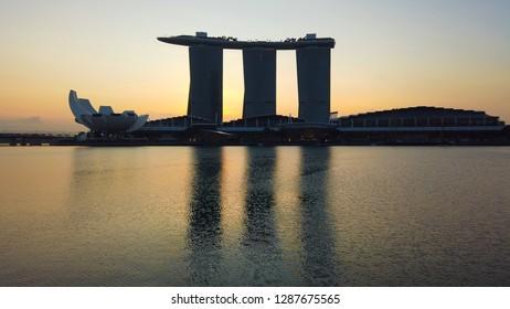 SINGAPORE - JANUARY 12, 2019: Architecture of Marina Bay Sand during sunrise.