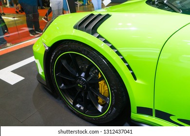 SINGAPORE - JANUARY 12, 2019: Front Fender from Porsche 911 GT3 RS at the Singapore Motor Show