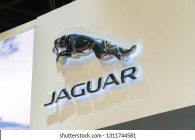 SINGAPORE - JANUARY 12, 2019: Jaguar company logo. Jaguar is a British multinational car manufacturer headquartered in Coventry England.