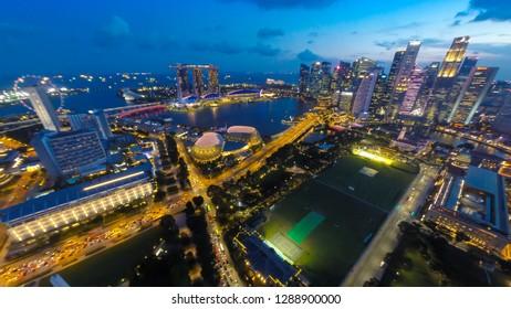 SINGAPORE - JANUARY 12, 2019: Landscape of Singapore business building around Marina bay.