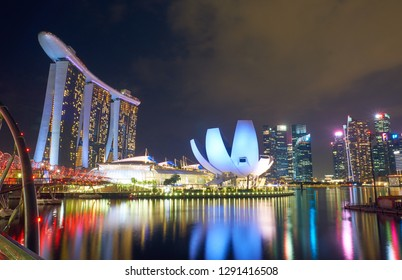 SINGAPORE - JANUARY 12, 2019:  Marina Bay Sands and ArtScience Museum