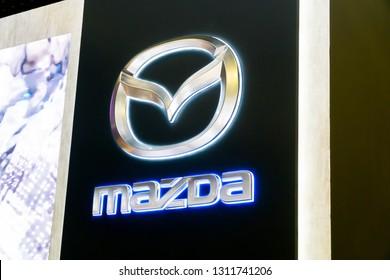 SINGAPORE - JANUARY 12, 2019: Mazda logo at the Singapore Motorshow