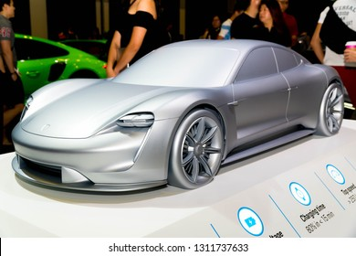 SINGAPORE - JANUARY 12, 2019: Porsche Mission-E a.k.a Porsche Taycan concept car at the Singapore Motorshow