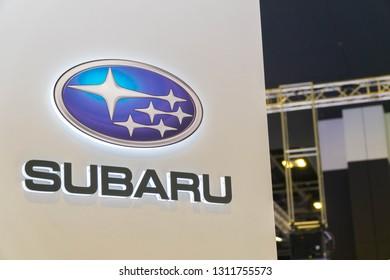 SINGAPORE - JANUARY 12, 2019: Subaru logo, Subaru is the automobile manufacturing division of Japanese transportation conglomerate Subaru Corporation