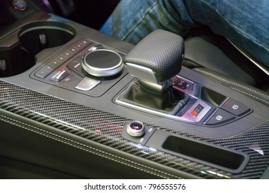 SINGAPORE - JANUARY 14, 2018: 8-speed Tiptronic gear from Audi RS5 Coupe at motorshow in Singapore.