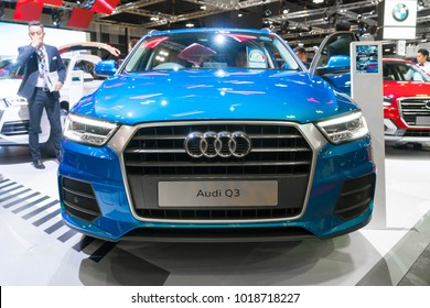 SINGAPORE - JANUARY 14, 2018: Audi Q3 at motorshow in Singapore.