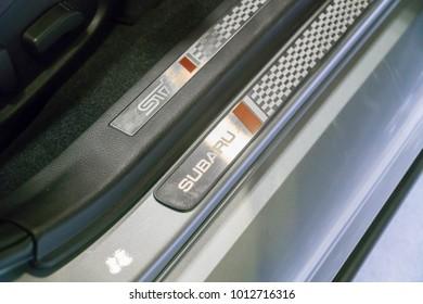 SINGAPORE - JANUARY 14, 2018: Door Sill from Subaru Wrx Sti at motorshow in Singapore.