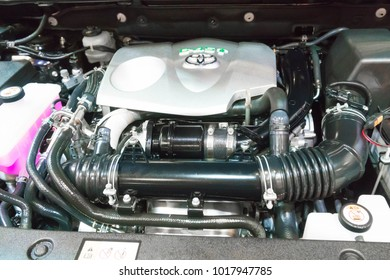 SINGAPORE - JANUARY 14, 2018: Engine Bay from Toyota Harrier SUV at motorshow in Singapore.