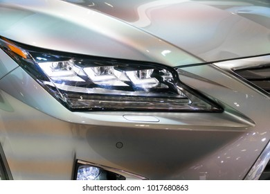 SINGAPORE - JANUARY 14, 2018: Headlight from Lexus RX Turbo  RX200tat motorshow in Singapore.