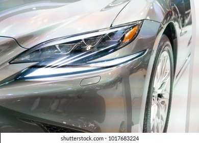SINGAPORE - JANUARY 14, 2018: Headlight from Lexus LS at motorshow in Singapore.