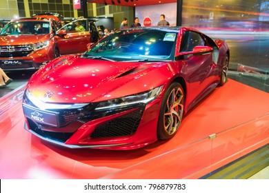 SINGAPORE - JANUARY 14, 2018: Honda NSX at motorshow in Singapore.