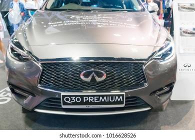 SINGAPORE - JANUARY 14, 2018: Infiniti Q30 Premium at motorshow in Singapore.