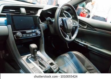SINGAPORE - JANUARY 14, 2018: Interior from Honda Civic Hatchback 1.5 Turbo at motorshow in Singapore.