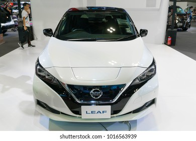 SINGAPORE - JANUARY 14, 2018: Nissan Leaf Electric Car at motorshow in Singapore.