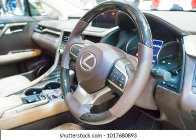 SINGAPORE - JANUARY 14, 2018: Steering Wheel from Lexus RX Turbo  RX200tat motorshow in Singapore.