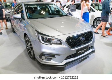 SINGAPORE - JANUARY 14, 2018: Subaru Legacy 2.5 I-S EyeSight at motorshow in Singapore.