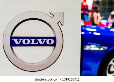 SINGAPORE - JANUARY 14, 2018: Volvo logo, The Volvo Group (Swedish: Volvokoncernen; legally Aktiebolaget Volvo, shortened to AB Volvo) is a Swedish multinational manufacturing comp