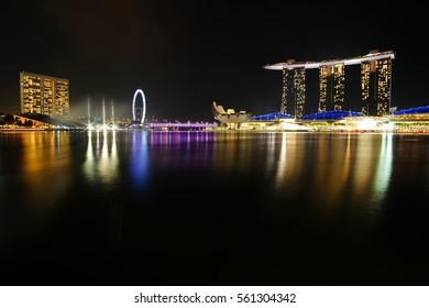 SINGAPORE - JANUARY 15, 2017: Singapore city skyline at night