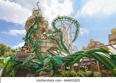 Singapore - January 15, 2017 : Puss in Boots Giant Journey roller coaster ride at Universal Studios, theme park located within Resorts World Sentosa, Singapore.
