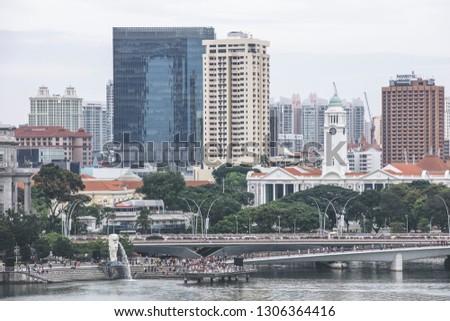 0cb95f6c33c Singapore   Singapore - January 15 2019  Singapore Merlion Park and  Victoria Concert Hall aerial