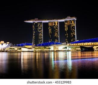 Singapore - January 17, 2016: Night view of the cityscape ear Marina Bay.