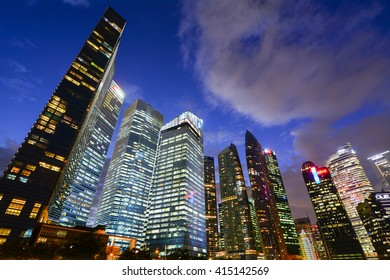 SINGAPORE, SINGAPORE - JANUARY 18, 2015 - landscape of the city-state Singapore asia with views of skyscrapers and Marina Bay Sands, which houses the swimming pool the world's highest