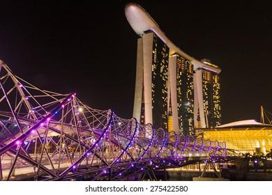 Singapore, Singapore - January 19, 2014: The Helix Bridge, a pedestrian bridge linking Marina Centre with Marina South in the Marina Bay area in Singapore