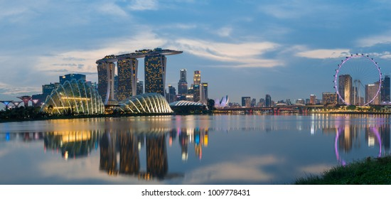 Singapore - January 20, 2018: Panorama view of Marina bay with Marina bay sand, Singapore flayer and financial tall building in downtown.