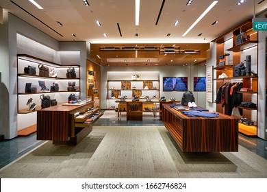 SINGAPORE - JANUARY 20, 2020: interior shot of Ermenegildo Zegna store in the Shoppes at Marina Bay Sands. Ermenegildo Zegna is an Italian luxury fashion house.