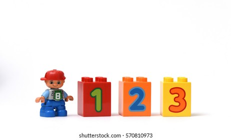 Singapore - January 2016: Plastic building block of number 1, 2 and 3. Educational or corporate image portraying motivation of learning, successful and winning situation scenarios.