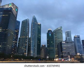 SINGAPORE - JANUARY 2017 - city view before rain
