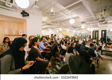 Singapore, January 2018: A legaltech event at new and popular coworking space WeWork along Beach Road, Singapore. Coworking spaces like these have seen burgeoning popularity for startups.