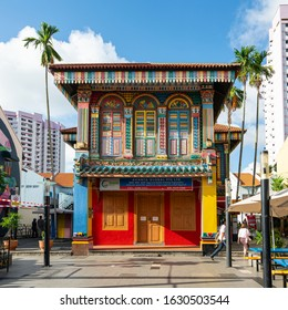Singapore. January 2020. Colorful houses in Little India neighborhood