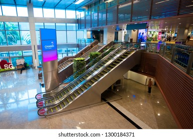 SINGAPORE - JANUARY 22, 2019 : airport Escalator
