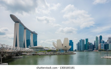 SINGAPORE - JANUARY 22, 2019 : skyline at business district, Marina Bay, panorama