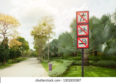 Singapore - JANUARY 23, 2019 : Prohibiting signs in a Park