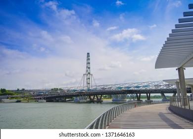 Singapore - January 25, 2019:  Jubilee Bridge, unique bridges like DNA in the Merlion Park